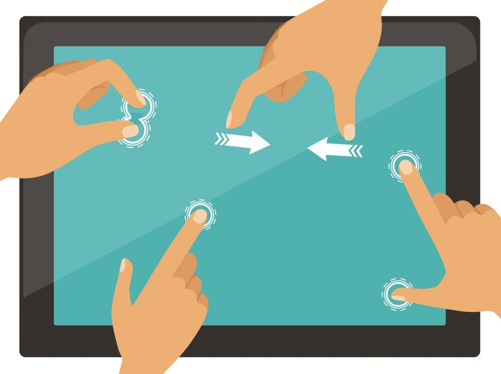 Una breve definizione di multi-touch: una tecnologia - basata sulla tecnologia touchscreen - che consente di rendere uno schermo sensibile a più tocchi contemporanei in punti diversi della superficie